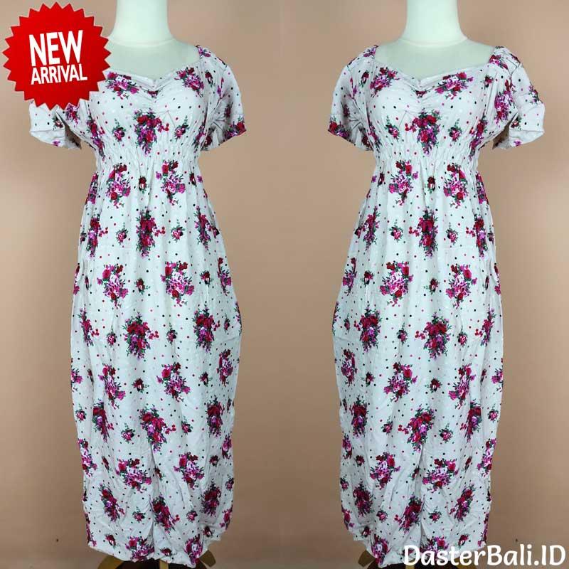 Baju Daster Warna Putih Motif Bulu Ayam | Dasterbali.id