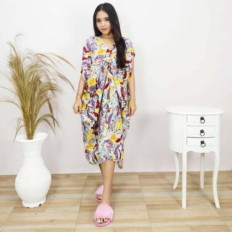 Daster Bali Adem Motif Daun Model Aina