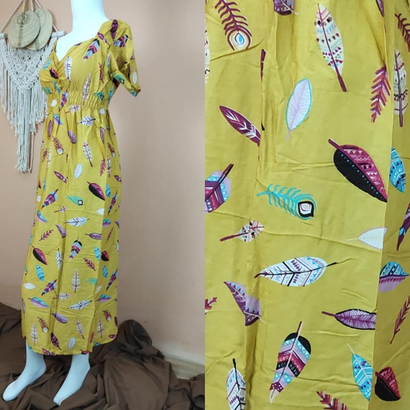 Daster Bali Model Zara Motif Bulu Merak