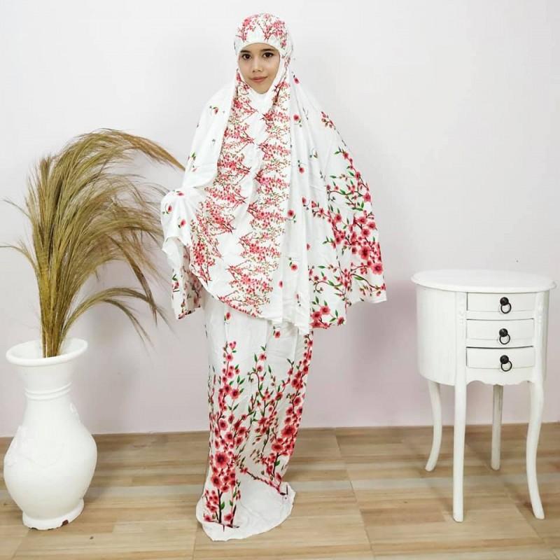 Mukena Putih Motif Bunga