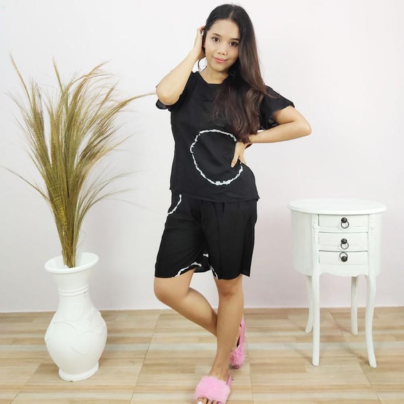 Pajamas Rayon Lengan Pendek Motif Shibori