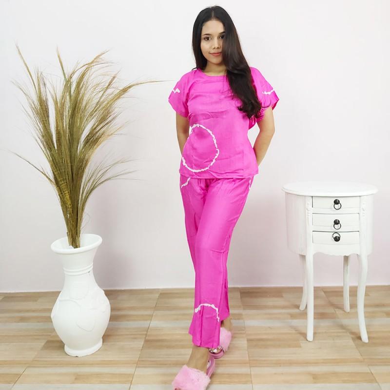 Pajamas Rayon Panjang Wanita Motif Shibori