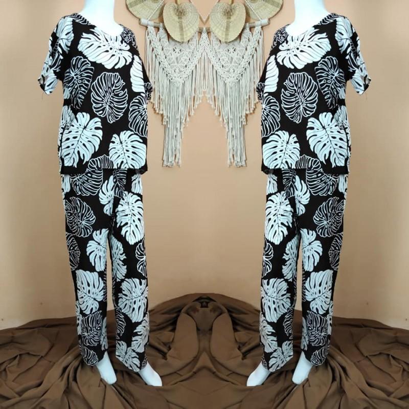 Piyama Baju Tidur Bali Motif Daun