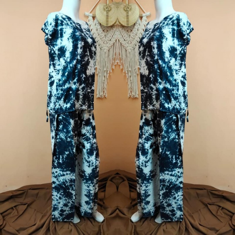 Piyama Panjang Wanita Motif Tie Dye