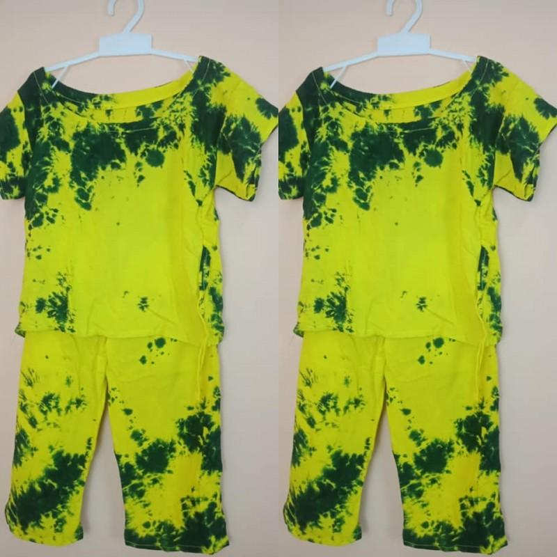 Setelan Baju Anak Perempuan Panjang Motif Tie Dye