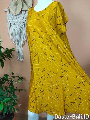 Daster Model Payung Motif Abstrak Warna Kuning