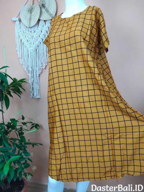 Daster Model Payung Motif Kotak Warna Kuning