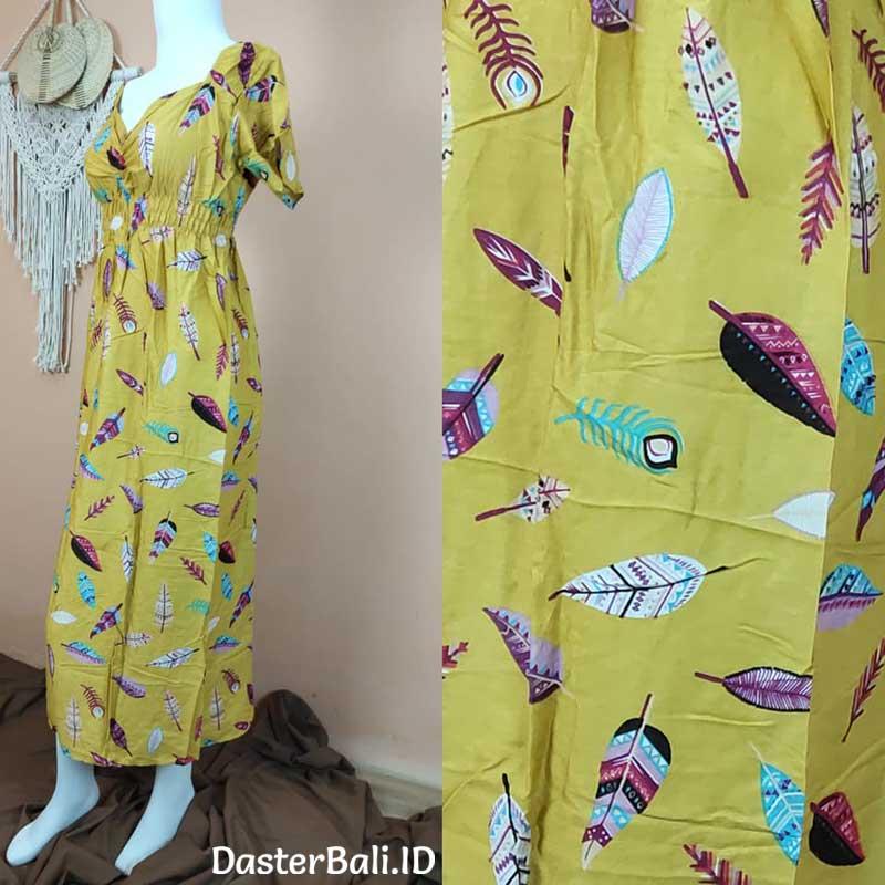 Daster Zara Bali Motif Bulu Merak Warna Kuning
