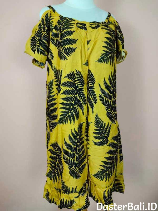 Home Dress With A Fern Leaves Motive