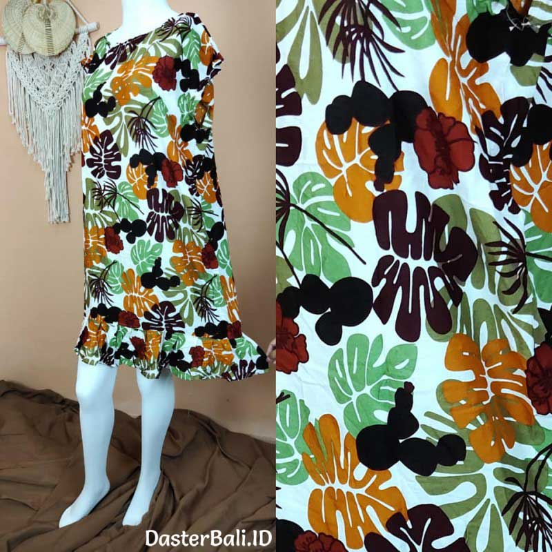 House Dress with Colorful Leaves Motifs